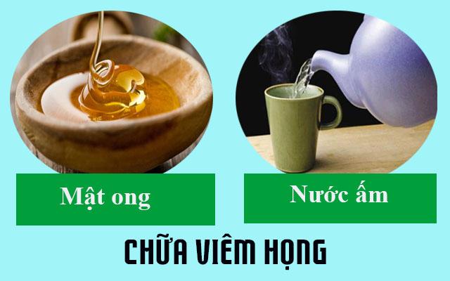 Mật ong và nước ấm chữa viêm họng