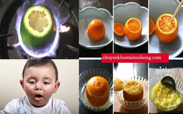 Chữa ho cho trẻ sơ sinh bằng cam nướng
