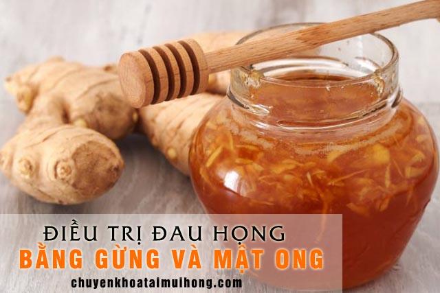 Gừng kết hợp cùng mật ong chữa đau họng