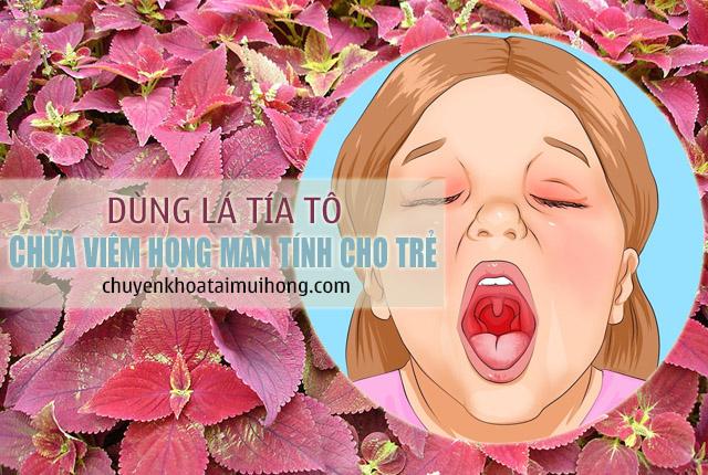 Dùng lá tía tô trị viêm họng mãn tính cho trẻ em