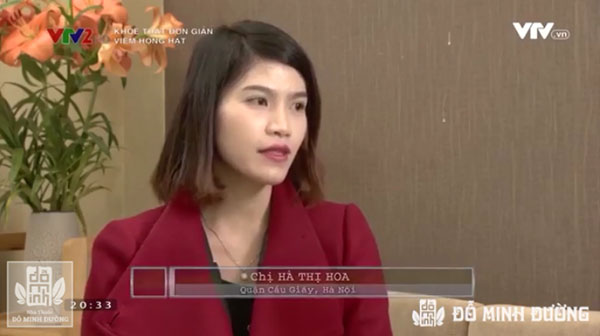 Chị Hà Thị Hoa cảm thấy họng bớt đau, sưng tấy khi sử dụng bài thuốc hỗ trợ chữa viêm họng tại nhà thuốc Đỗ Minh Đường