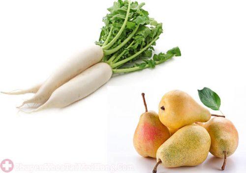 Chữa ho bằng lê và củ cải trắng