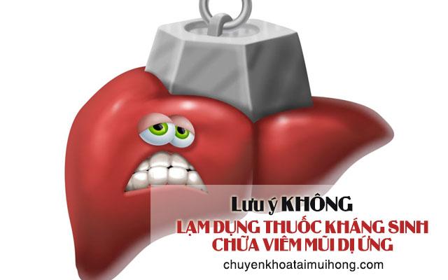 Lạm dụng thuốc kháng sinh trị viêm mũi dị ứng sẽ gây hại cho mô gan