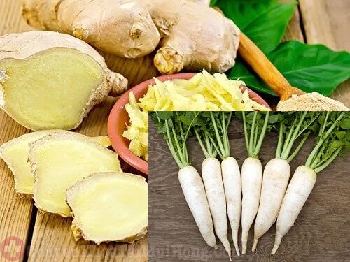 Chữa viêm họng hạt bằng gừng và củ cải trắng