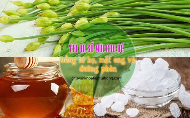 Lá hẹ, mật ong, đường phèn điều trị ho, sổ mũi cho trẻ sơ sinh