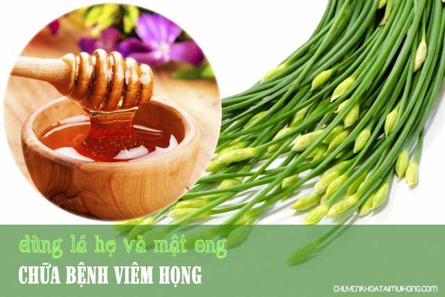 Dùng lá hẹ và mật ong chữa bệnh viêm họng