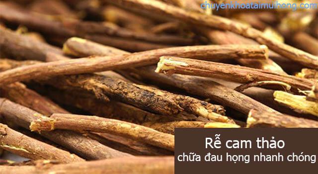 chữa đau họng bằng rễ cam thảo