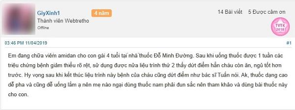 Chia sẻ về hiệu quả bài thuốc chữa viêm amidan của Đỗ Minh Đường