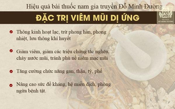 Ưu điểm của bài thuốc Nam chữa viêm mũi dị ứng nhà thuốc Đỗ Minh Đường