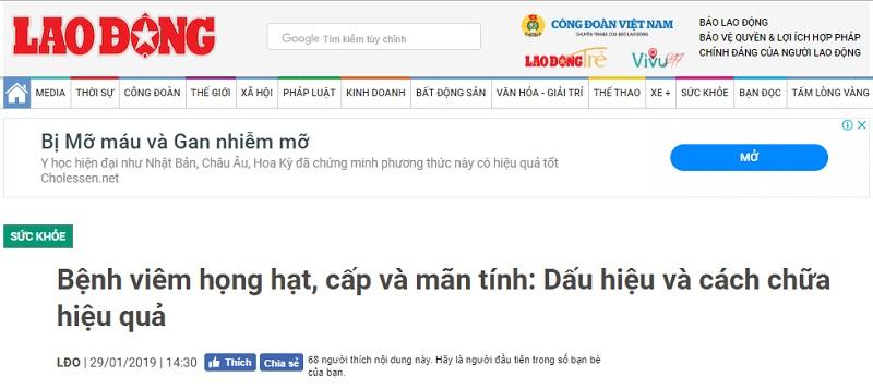 Bài báo tôi tham khảo về cách chữa bệnh tại Đỗ Minh Đường trên báo Lao Động
