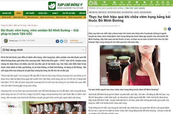 Một số bài báo nói về bài thuốc viêm họng, viêm amidan Đỗ Minh Đường